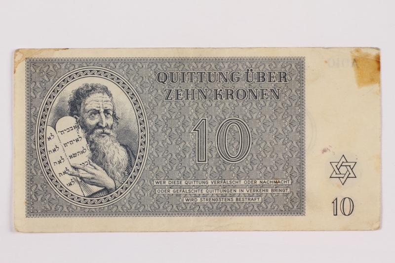 1996.85.4 front Theresienstadt ghetto-labor camp scrip, 10 kronen note