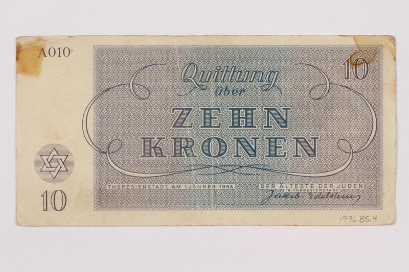 1996.85.4 back Theresienstadt ghetto-labor camp scrip, 10 kronen note