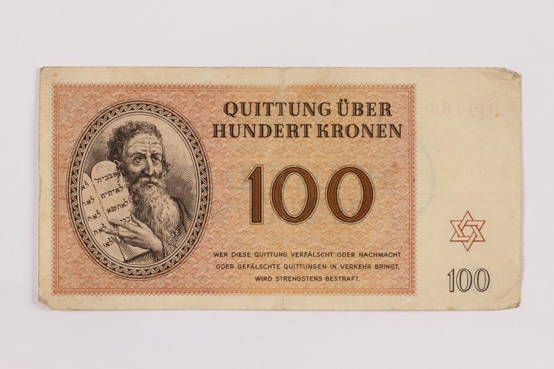 1996.85.5 front Theresienstadt ghetto-labor camp scrip, 100 kronen note