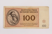 1996.85.5 front Theresienstadt ghetto-labor camp scrip, 100 kronen note  Click to enlarge