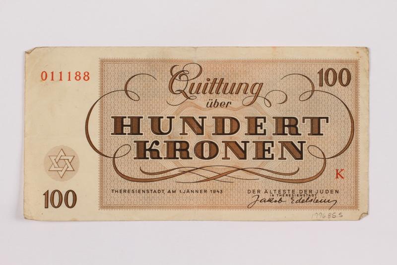 1996.85.5 back Theresienstadt ghetto-labor camp scrip, 100 kronen note