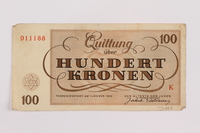 1996.85.5 back Theresienstadt ghetto-labor camp scrip, 100 kronen note  Click to enlarge
