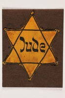 1996.85.6 front Star of David badge with Jude printed in the center  Click to enlarge