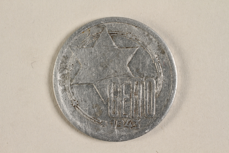 1996.90.2 front Łódź (Litzmannstadt) ghetto scrip, 10 mark coin