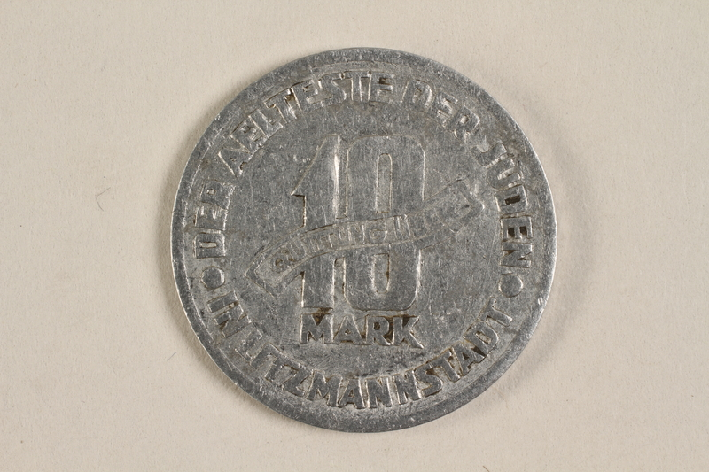 1996.90.2 back Łódź (Litzmannstadt) ghetto scrip, 10 mark coin