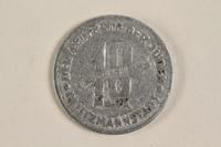 1996.90.2 back Łódź (Litzmannstadt) ghetto scrip, 10 mark coin  Click to enlarge