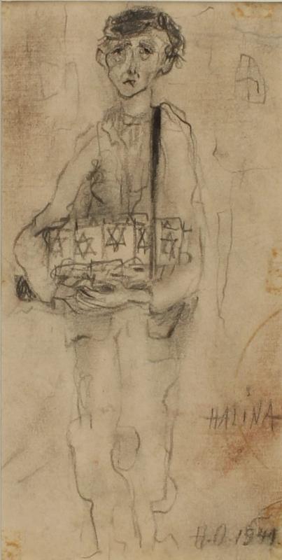 CM_1989.331.2_001 front Halina Olomucki sketch of a boy selling Star of David armbands