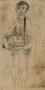 Halina Olomucki sketch of a boy selling Star of David armbands