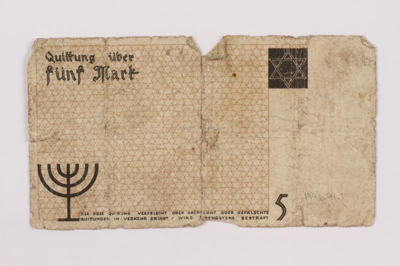 1996.91.1 back Łódź ghetto scrip, 5 mark note