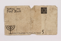 1996.91.1 back Łódź ghetto scrip, 5 mark note  Click to enlarge