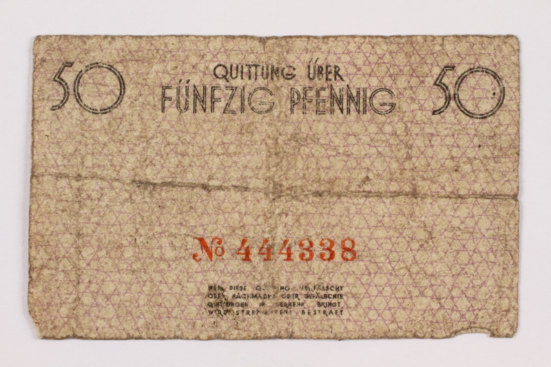 1996.91.2 front Łódź ghetto scrip, 50 pfennig note