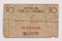 1996.91.2 front Łódź ghetto scrip, 50 pfennig note  Click to enlarge