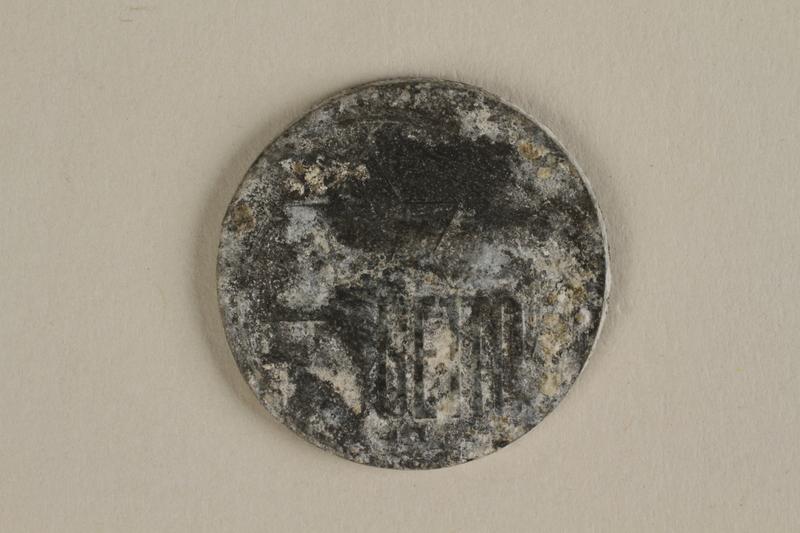 1996.91.3 front Łódź (Litzmannstadt) ghetto scrip, 5 mark coin