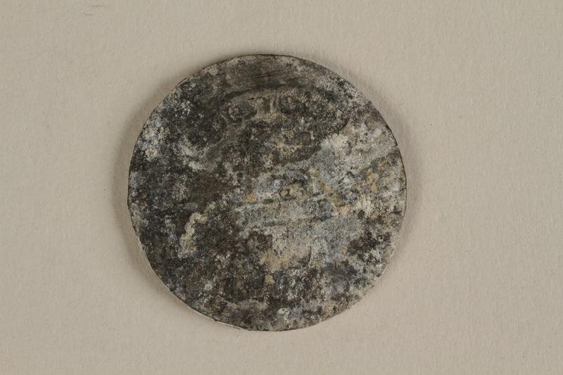 1996.91.3 back Łódź (Litzmannstadt) ghetto scrip, 5 mark coin