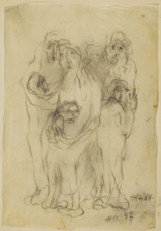 CM_1989.331.3_001 front Halina Olomucki drawing of adults embracing children afraid of being killed