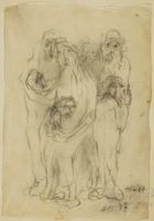CM_1989.331.3_001 front Halina Olomucki drawing of adults embracing children afraid of being killed  Click to enlarge
