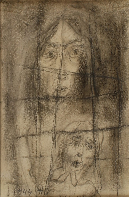CM_1989.331.4_001 front Halina Olomucki drawing of a woman and child hiding during round-up