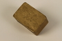 Gold painted metal box with heart and initials made by a Jewish Polish slave labor camp inmate