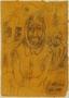 Halina Olomucki sketch of Jewish men whose beards were publicly shaved