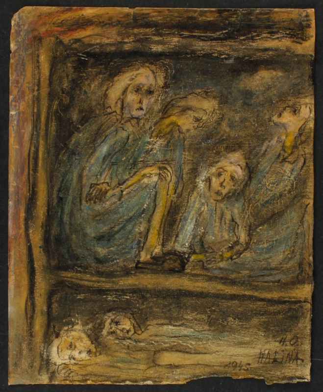 CM_1989.331.6 front Halina Olomucki drawing of emaciated women prisoners crowded in a barrack