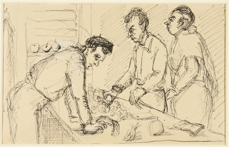 1988.1.50 a front Two-sided drawing of men in a canteen and a portrait of a woman by a German Jewish internee