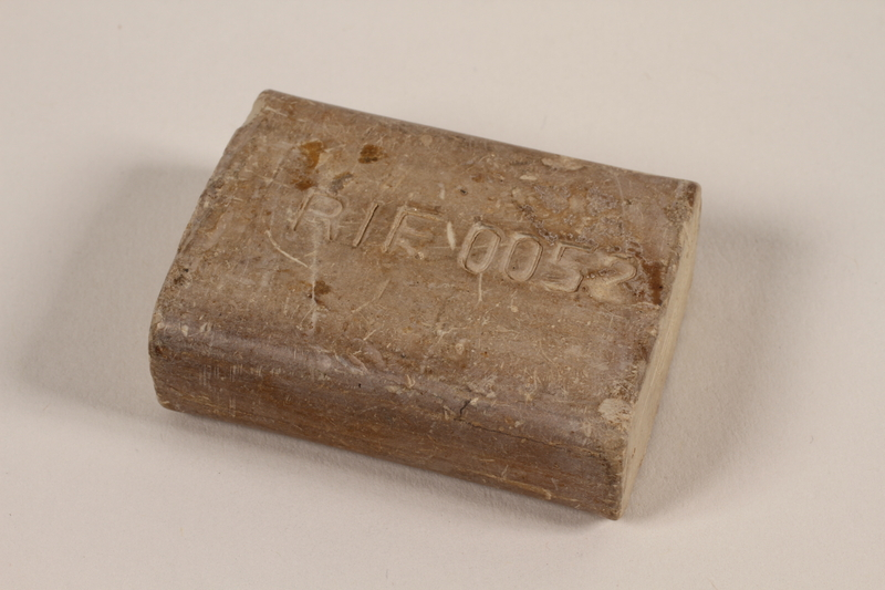 1997.112.1 front Bar of soap issued to a US soldier while held as a POW in a German Stalag