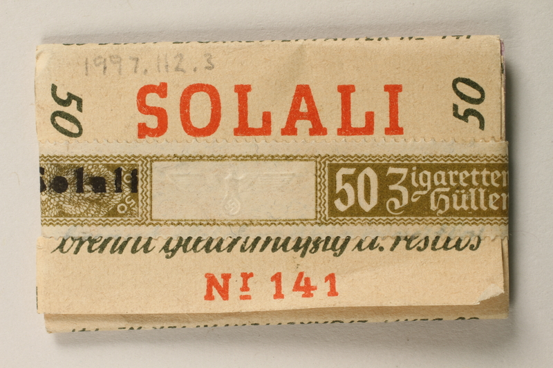 1997.112.3 front Solali cigarette papers issued to a US soldier while held as a POW in a German Stalag