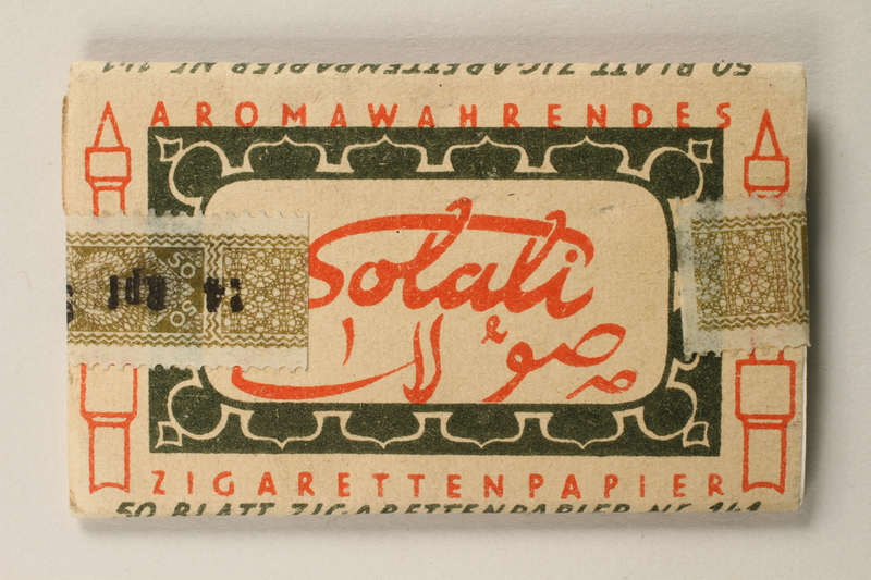 1997.112.3 back Solali cigarette papers issued to a US soldier while held as a POW in a German Stalag