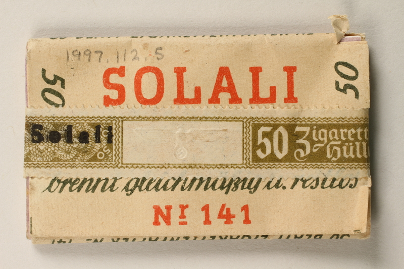 1997.112.5 front Solali cigarette papers issued to a US soldier while held as a POW in a German Stalag