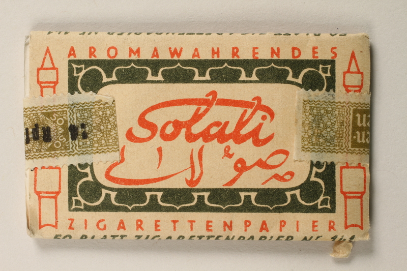 1997.112.5 back Solali cigarette papers issued to a US soldier while held as a POW in a German Stalag