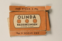 1997.112.7_a front Box of razor blades issued to a US soldier while held as a POW in a German Stalag  Click to enlarge