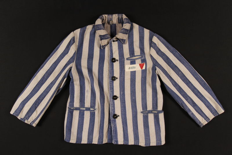 1997.122.1 front Concentration camp inmate uniform jacket with number patch and red triangle
