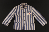 1997.122.1 front Concentration camp inmate uniform jacket with number patch and red triangle  Click to enlarge