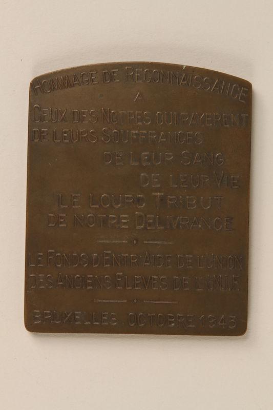 1997.20.3 back Hommage de Reconnaissance Medal awarded posthumously