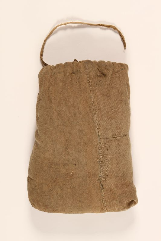 1997.31.2 front Drawstring cloth pouch handmade by a Lithuanian Jewish concentration camp inmate