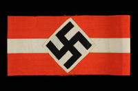 1997.43.4 front Hitler Youth swastika armband taken by an Austrian Jewish soldier in the US Army  Click to enlarge