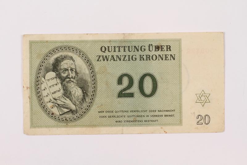 1997.52.1 front Theresienstadt ghetto-labor camp scrip, 20 kronen note