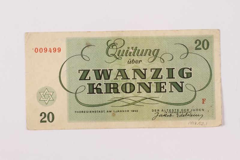 1997.52.1 back Theresienstadt ghetto-labor camp scrip, 20 kronen note