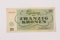 1997.52.1 back Theresienstadt ghetto-labor camp scrip, 20 kronen note  Click to enlarge
