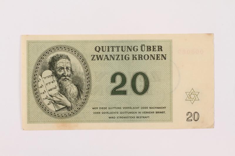 1997.52.2 front Theresienstadt ghetto-labor camp scrip, 20 kronen note