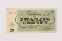 1997.52.2 back Theresienstadt ghetto-labor camp scrip, 20 kronen note  Click to enlarge