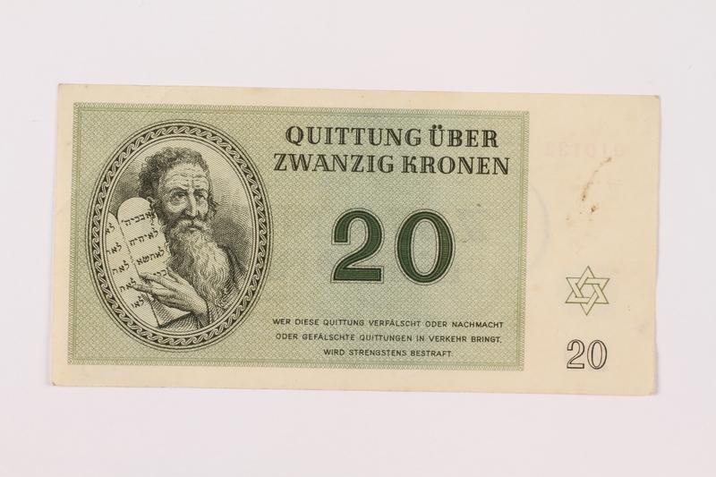 1997.52.3 front Theresienstadt ghetto-labor camp scrip, 20 kronen note
