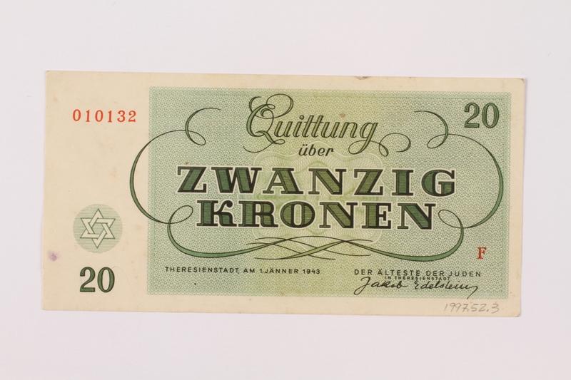 1997.52.3 back Theresienstadt ghetto-labor camp scrip, 20 kronen note