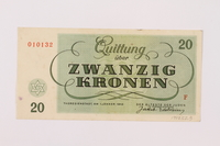 1997.52.3 back Theresienstadt ghetto-labor camp scrip, 20 kronen note  Click to enlarge