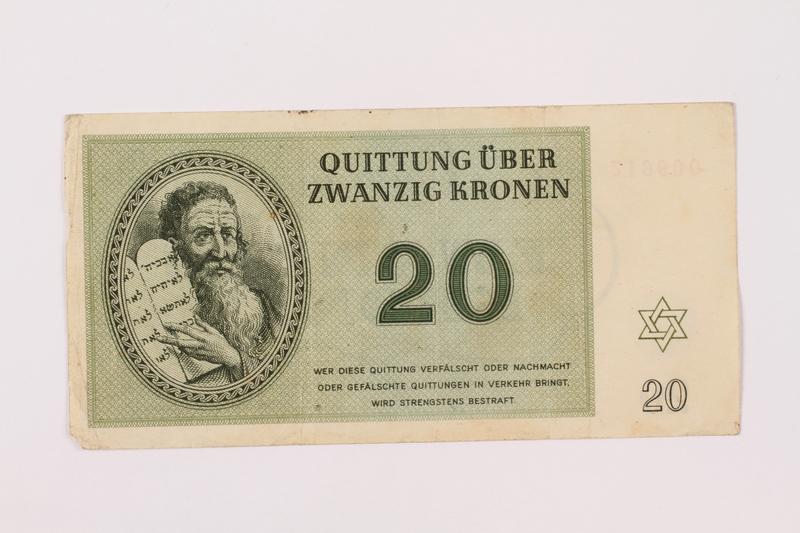 1997.52.4 front Theresienstadt ghetto-labor camp scrip, 20 kronen note