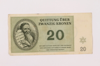 1997.52.4 front Theresienstadt ghetto-labor camp scrip, 20 kronen note  Click to enlarge