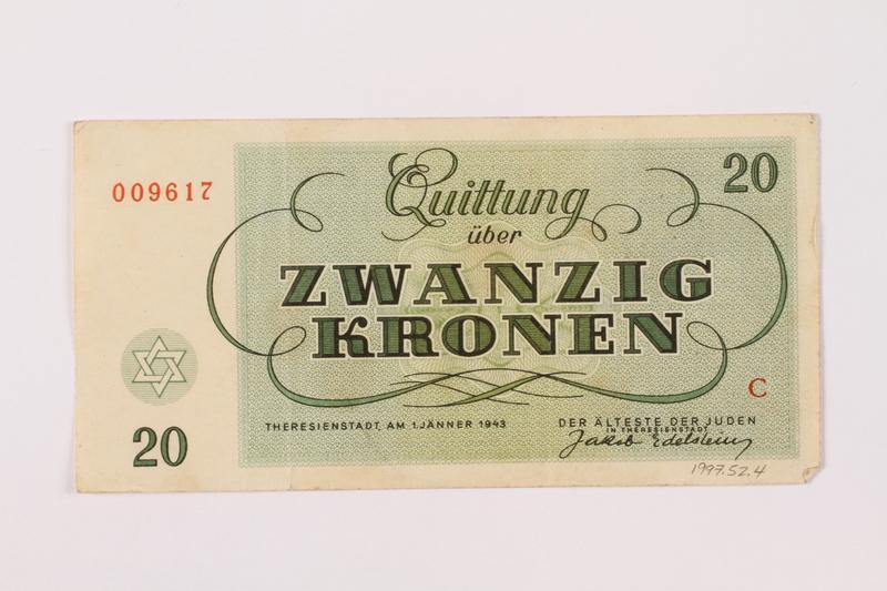 1997.52.4 back Theresienstadt ghetto-labor camp scrip, 20 kronen note