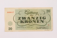 1997.52.4 back Theresienstadt ghetto-labor camp scrip, 20 kronen note  Click to enlarge