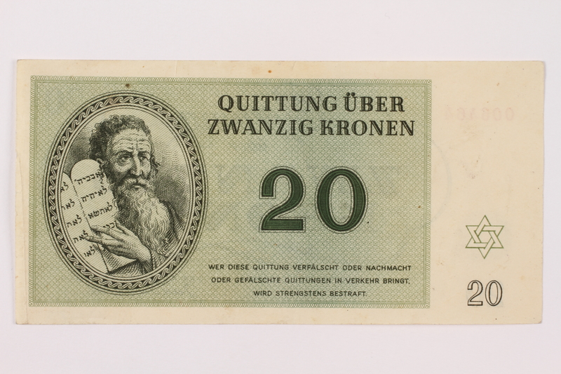 1997.52.5 front Theresienstadt ghetto-labor camp scrip, 20 kronen note
