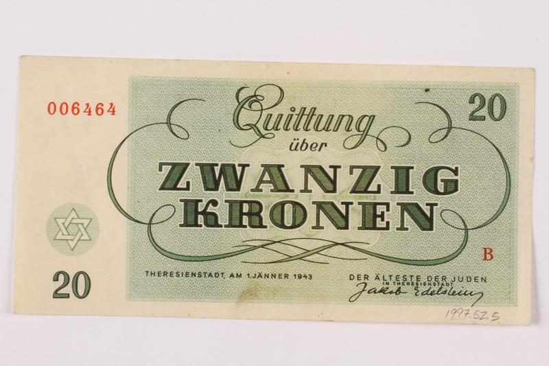 1997.52.5 back Theresienstadt ghetto-labor camp scrip, 20 kronen note